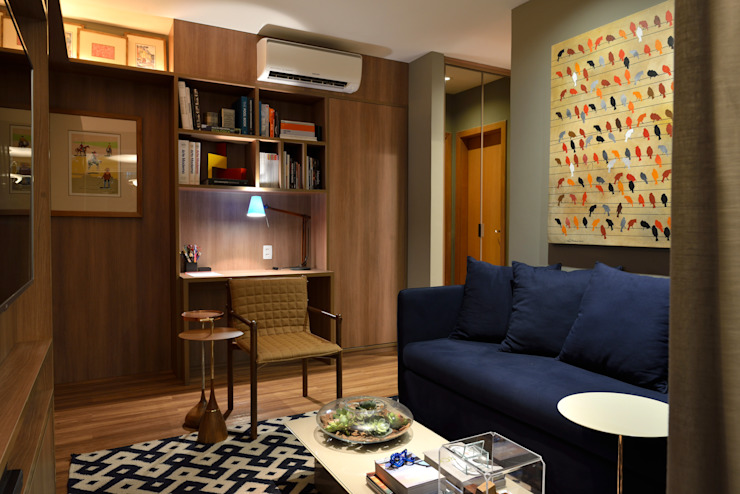 Apartamento pequeno - 43m² Salas de estar modernas por Moreno e Brazileiro | Arquitetos Moderno