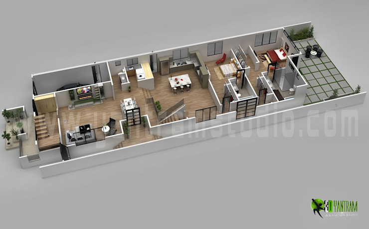 3D Floor Plan Design For Modern Home por Yantram Architectural Design Studio