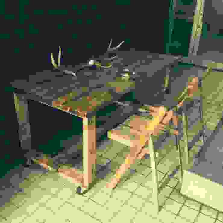 S50.original. Bistro Table with the caster 150: GALLERY.S S:TAYAMA が手掛けた素朴なです。,ラスティック 無垢材 多色