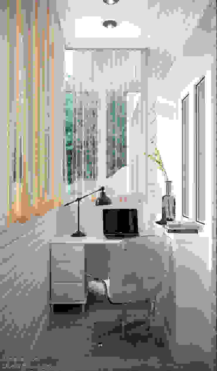 Дизайн балкона в стиле неоклассика в г. Абинск Балкон в скандинавском стиле от Студия интерьерного дизайна happy.design Скандинавский