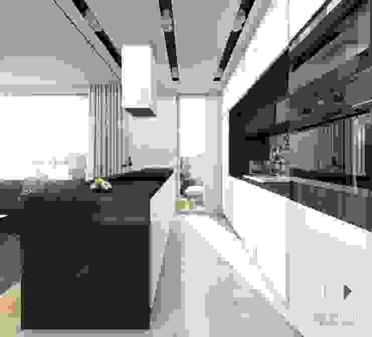 Mieszaknie 80m2 Nowoczesna kuchnia od Architekt wnętrz Klaudia Pniak Nowoczesny