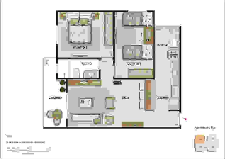 Planta baixa do apartamento padrão. Salas de estar minimalistas por Studio HG Arquitetura Minimalista