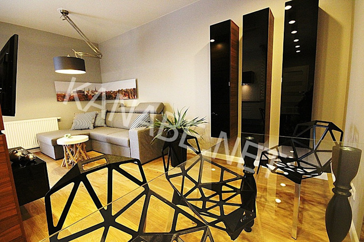 Apartament pokazowy dla dewelopera Nowoczesna jadalnia od KANABE Nowoczesny