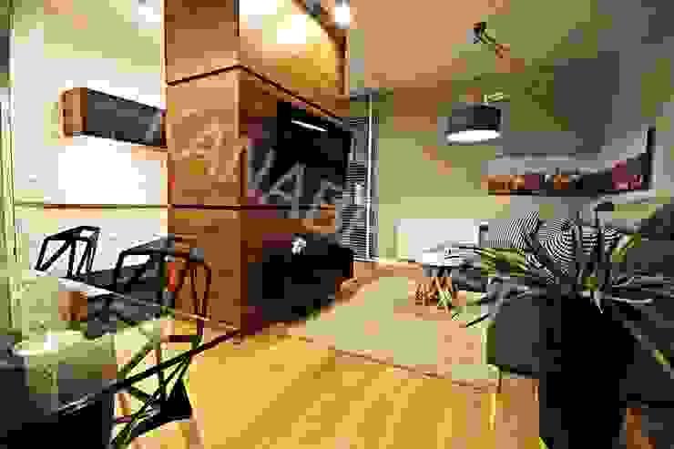 Apartament pokazowy dla dewelopera Nowoczesny salon od KANABE Nowoczesny