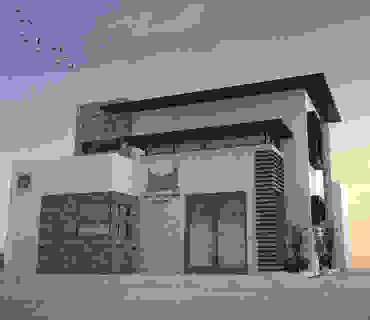 VISTA DE FACHADA PRINCIPAL Estudios y despachos minimalistas de Acrópolis Arquitectura Minimalista