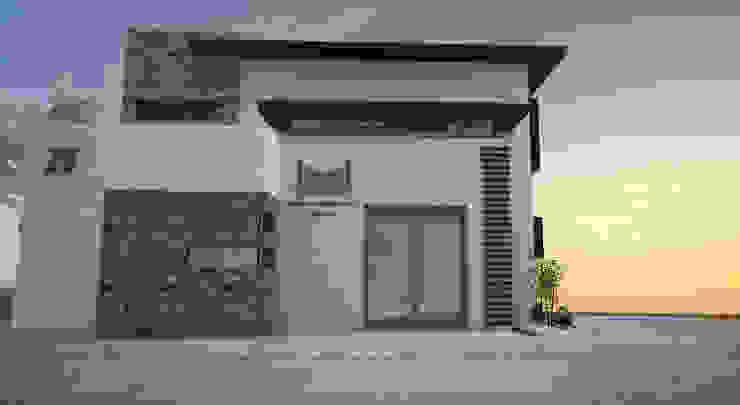 VISTA FACHADA FRONTAL Estudios y despachos minimalistas de Acrópolis Arquitectura Minimalista