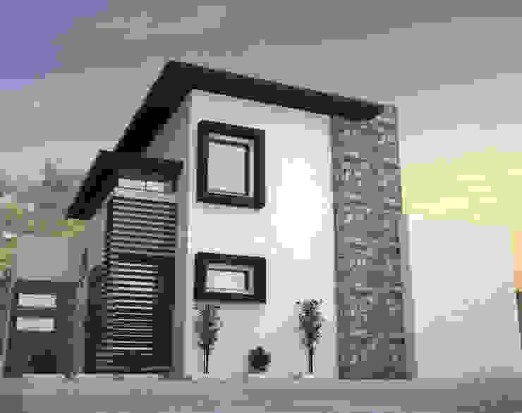VISTA DE FACHADA LATERAL Estudios y despachos minimalistas de Acrópolis Arquitectura Minimalista