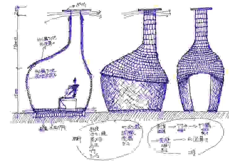 drawing of bamboo bio toilet オリジナルな 家 の 建築設計事務所 山田屋 オリジナル 竹 緑