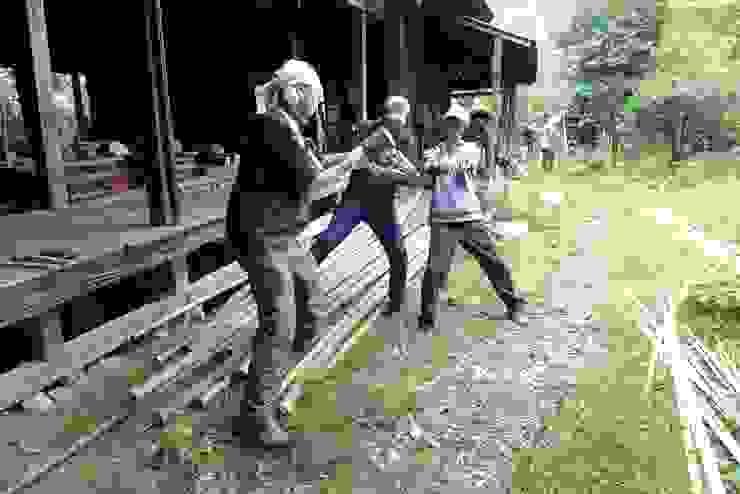 making bamboo material オリジナルな 壁&床 の 建築設計事務所 山田屋 オリジナル 竹 緑