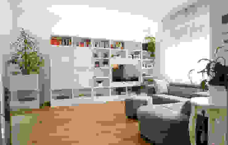 Salon original par Marco D'Andrea Architettura Interior Design Éclectique Bois Effet bois