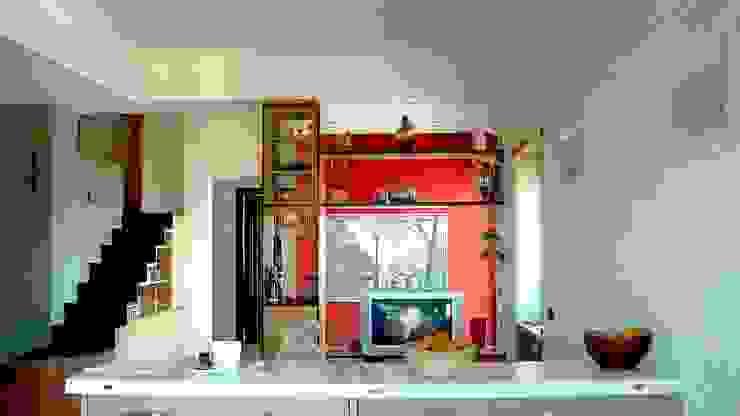 Vista del living Giuliana Andretta Architetto Soggiorno moderno Legno Rosso