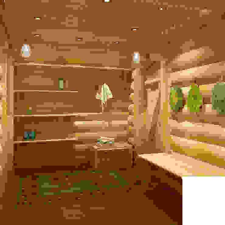 Дизайн бани из бревна в русском народном стиле Спа в стиле кантри от homify Кантри Твердая древесина Многоцветный