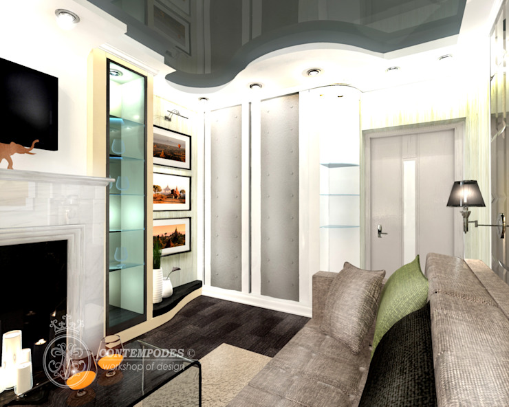 Перепланировка госстинной в хрущевке Гостиная в стиле модерн от Contempodes Модерн