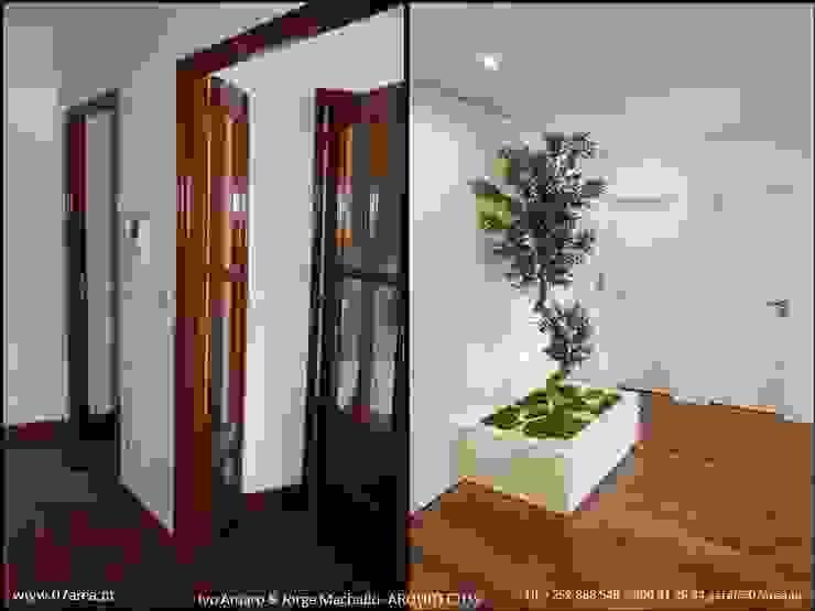 o antes e o depois... Corredores, halls e escadas minimalistas por AreA7 Minimalista