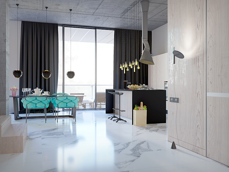 Pechersk apartment Кухня в стиле лофт от ONEDESIGN Лофт