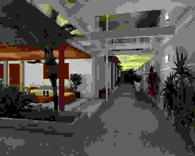 Espaço Gourmet, piscina e fachada – Residência RJ Jardins modernos por Konverto Interiores + Arquitetura Moderno