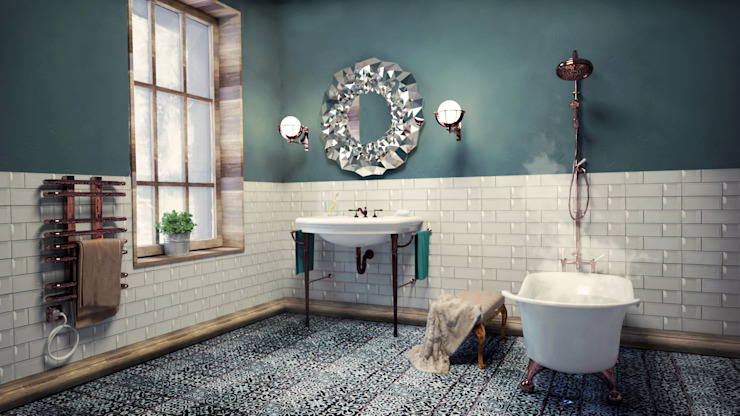 SIMPLE actitud Eclectic style bathroom Pottery Green