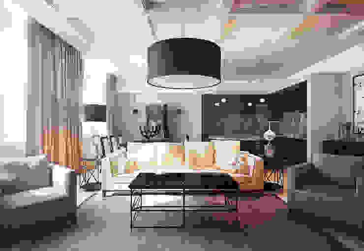 Apartment in Moscow Гостиные в эклектичном стиле от KAPRANDESIGN Эклектичный Мрамор