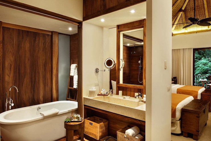 BR ARQUITECTOS Tropical style bathrooms Wood Wood effect