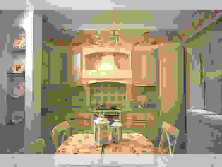 Милая кухня Кухня в стиле кантри от freeDOM Кантри Дерево Эффект древесины