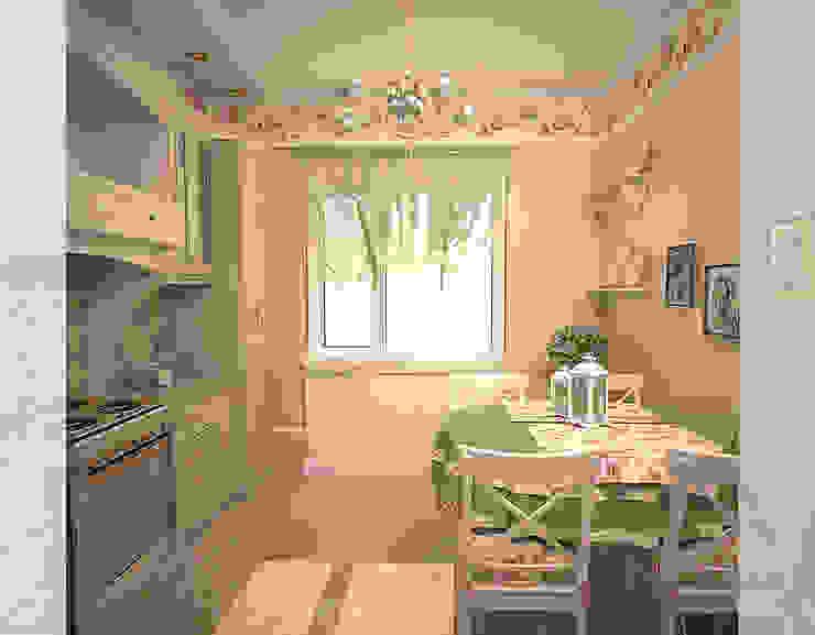 Милая кухня Кухня в стиле кантри от freeDOM Кантри Плитка