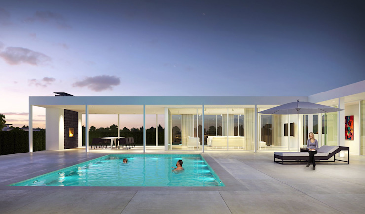 3d Exterior Visualization from Pred Solutions Modern Pool by Pred Solutions Modern