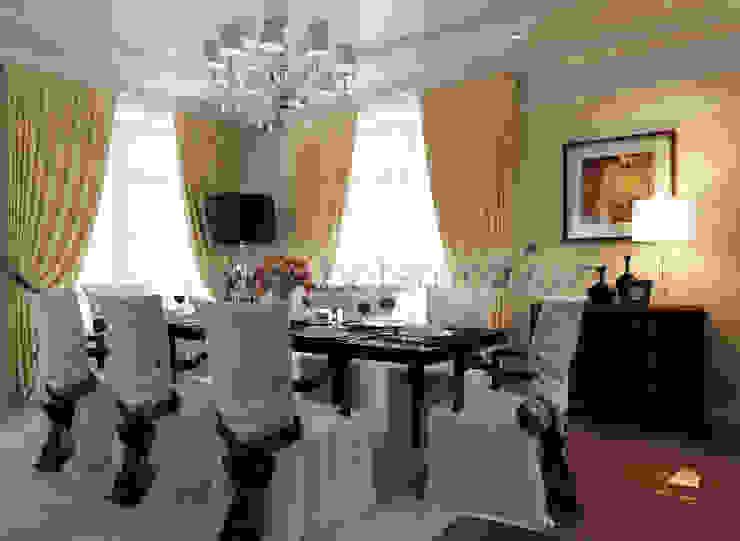 Дизайн проект гостиной в ардеко homify Столовая комната в классическом стиле Текстиль Бежевый