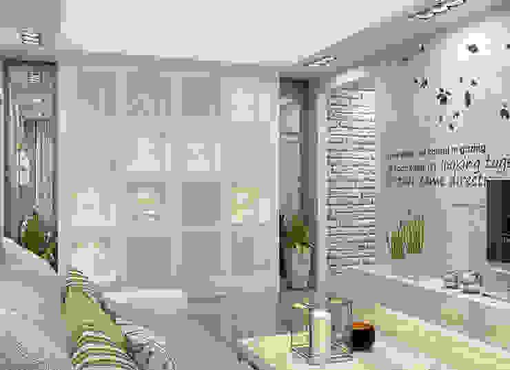 Alena Gorskaya Design Studio Moderner Flur, Diele & Treppenhaus Ziegel Weiß