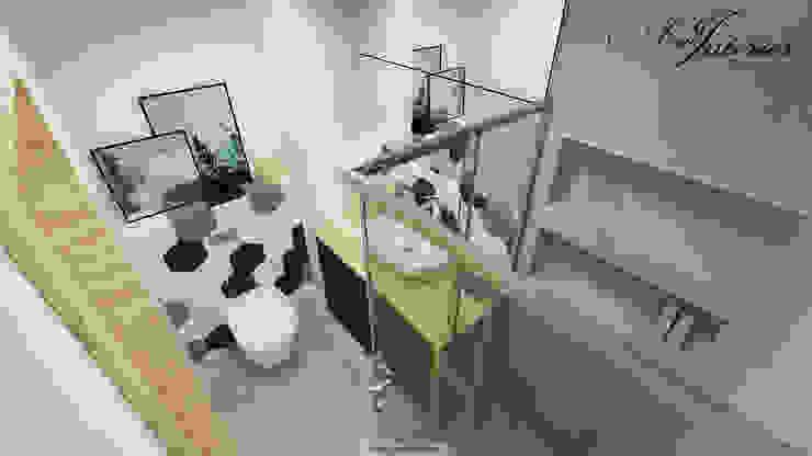 Projekt wnętrza kawalerki na wynajem Skandynawska łazienka od And Interior Design Skandynawski
