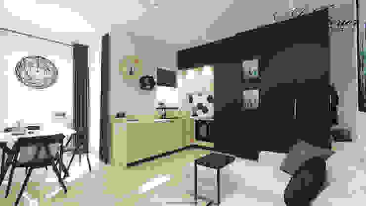 Projekt wnętrza kawalerki na wynajem Skandynawska kuchnia od And Interior Design Skandynawski