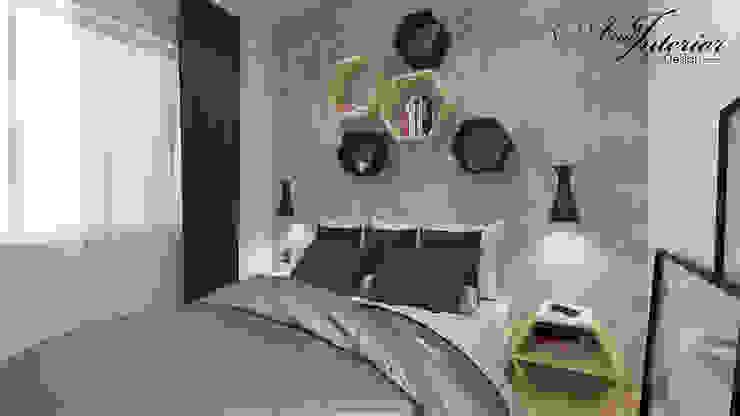 Projekt wnętrza kawalerki na wynajem Skandynawska sypialnia od And Interior Design Skandynawski