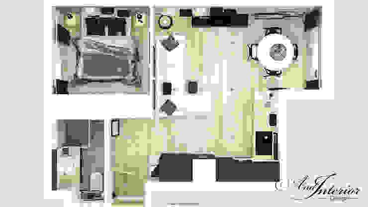 Projekt wnętrza kawalerki na wynajem Skandynawski salon od And Interior Design Skandynawski