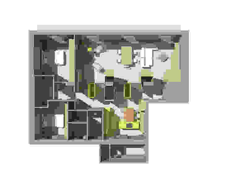 Progetto architettonico - Vista zenitale - rendering Case moderne di Bureau69 d'Architettura Moderno