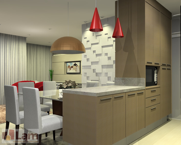 Sala/Cozinha - Projeto por LAM Arquitetura | Interiores