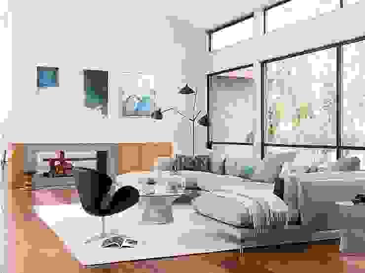 Como seccional con doble chaise de Design Within Reach Mexico Moderno Lana Naranja