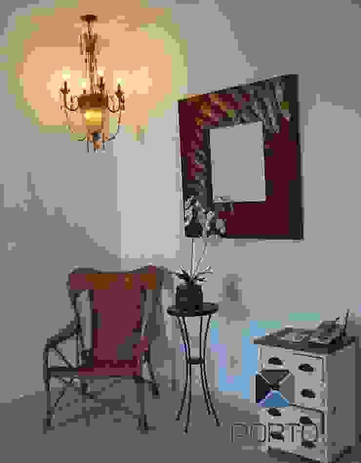 proyecto residencial <q>SR01</q> Pasillos, vestíbulos y escaleras eclécticos de PORTO Arquitectura + Diseño de Interiores Ecléctico
