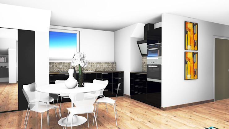 Vue en 3D de futur d'appartements D.DESIGN Cuisine moderne Noir