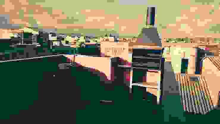 CUBIERTA PLANA EN VIVIENDA DE INTERES SOCIAL (TERRAZA) Balcones y terrazas de estilo colonial de MVP arquitectos Colonial