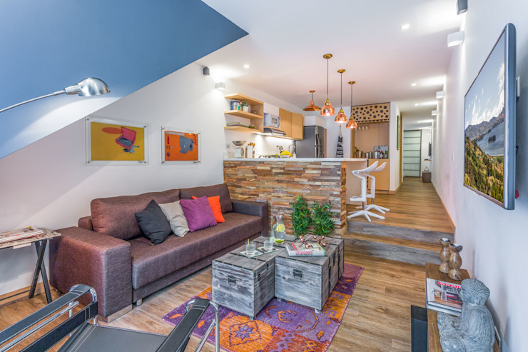 interior apto 101: Hoteles de estilo  por PLANTA BAJA ESTUDIO DE ARQUITECTURA,