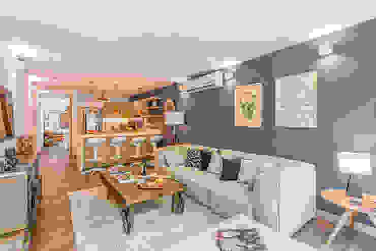 interior área social apto 102: Hoteles de estilo  por PLANTA BAJA ESTUDIO DE ARQUITECTURA,