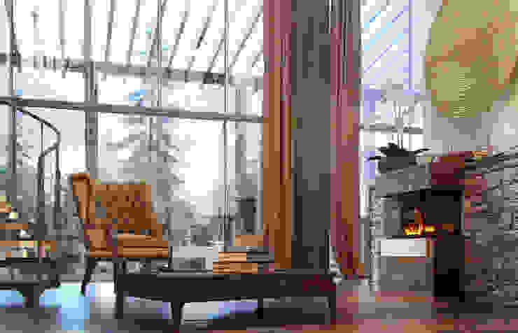 living room (winter) view1 Гостиная в рустикальном стиле от Дмитрий Каючкин Рустикальный