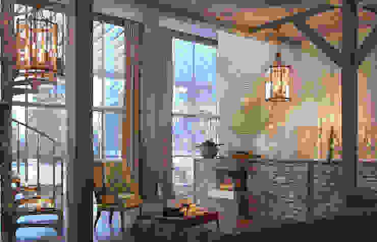 living room (winter) view2 Гостиная в рустикальном стиле от Дмитрий Каючкин Рустикальный