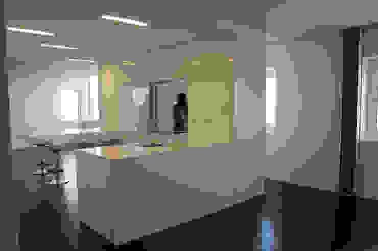 cozinha vista da sala de jantar Cozinhas minimalistas por feedback-studio arquitectos Minimalista