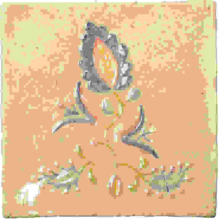 motyw haftu lipnickiego na ręcznie wykonanym kaflu ceramicznym. 20 cm x 20 cm, grubość 4-5 mm od unikatowe kafelki Rustykalny Ceramiczny