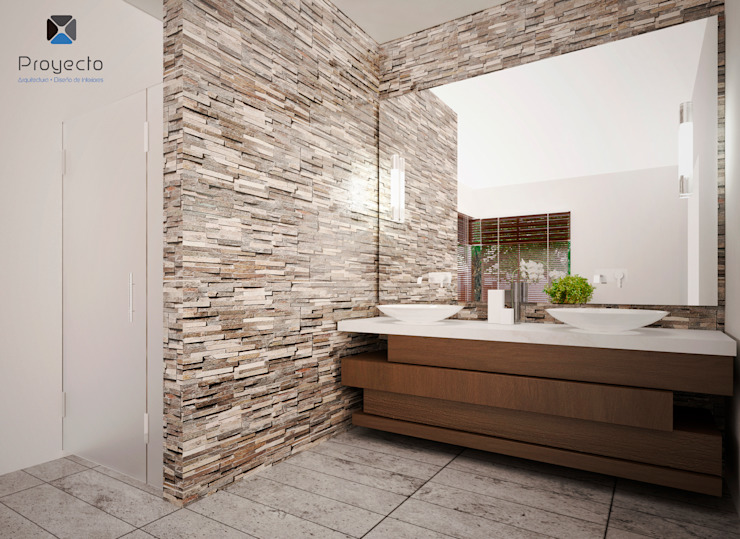 Proyecto Arquitectónico <q> Casa XC03</q> Baños modernos de PORTO Arquitectura + Diseño de Interiores Moderno