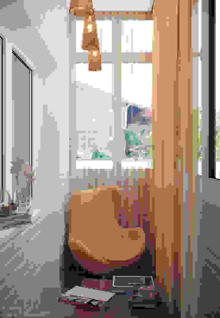 Дизайн балкона гостиной в г. Абинск Балкон и терраса в стиле модерн от Студия интерьерного дизайна happy.design Модерн