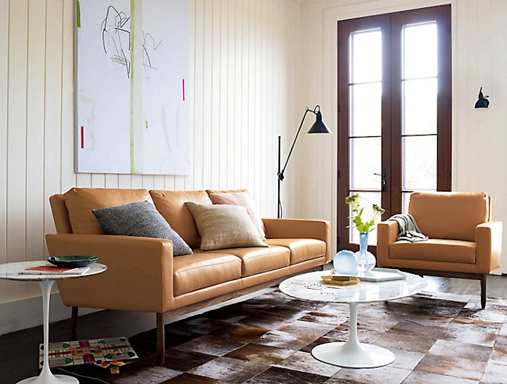 Sofa Raleigh:  de estilo  por Design Within Reach Mexico , Moderno Cuero Gris