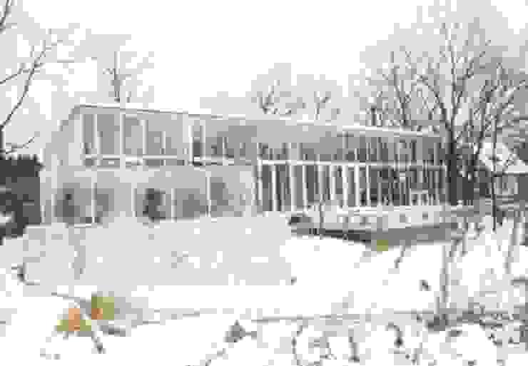 雪の外観を見る モダンな 家 の 一級建築士事務所ATELIER-LOCUS モダン ガラス