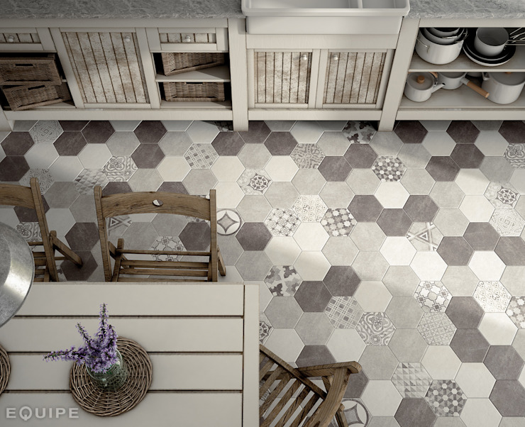 Hexatile Cement White, Grey, Black, Decor Garden Grey 17,5x20: Comedores de estilo  de Equipe Ceramicas