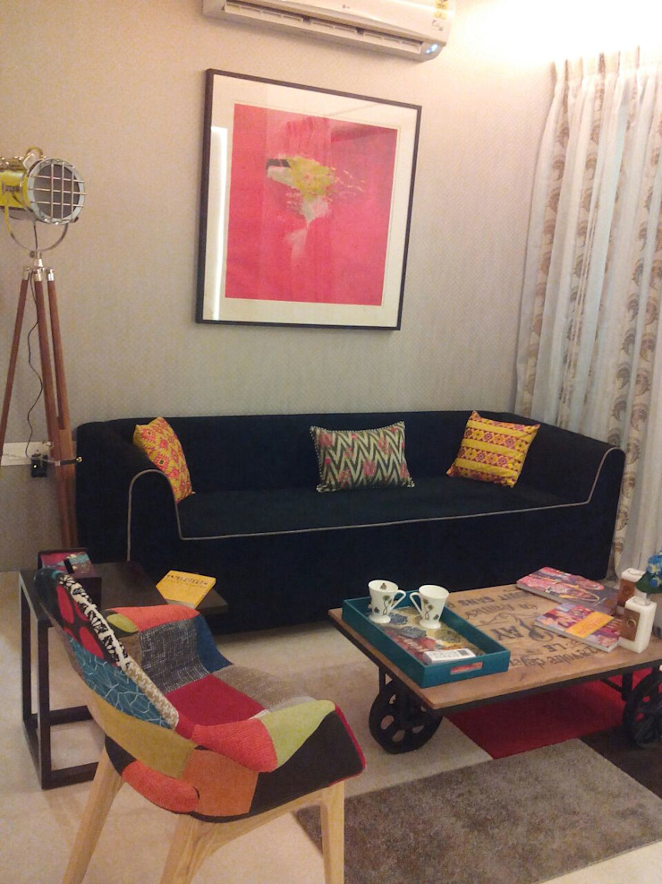 Residential Interior Project @ Mumbai Eclectic style living room by Nikneh studio Eclectic
